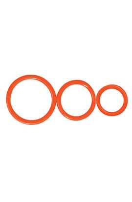 Control Rings - Orange, Set of 3 Cock Rings.